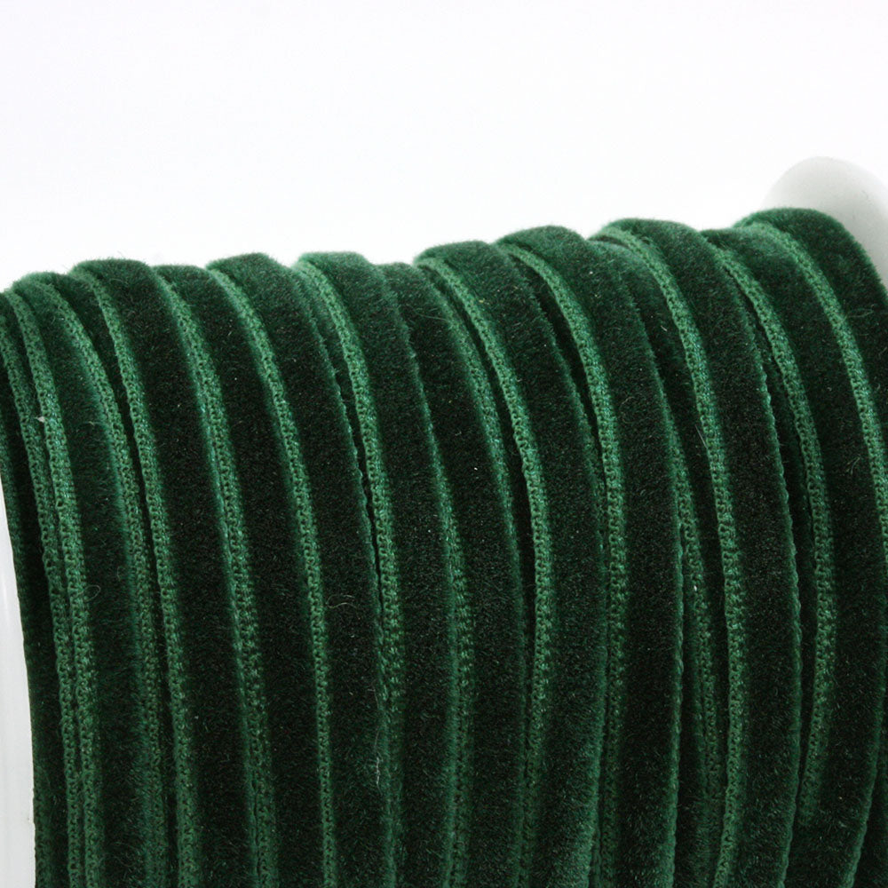 Velvet Ribbon Dark Green 4mm - Reel of 20yds