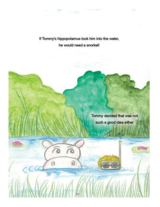 Image from Tommy Wants a Guide Dog. Tommy and a hippo in a pond. Tommy is wearing a snorkel and goggles. Text: if Tommy's hippo took him into the water, he would need a snorkel