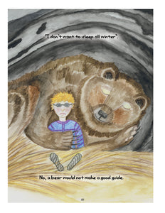 Image from Tommy Wants a Guide Dog. A bear sleeping in a cave while Tommy is awake. The bear is holding Tommy under its arm like a teddy bear. Text: I don't want to sleep all winter