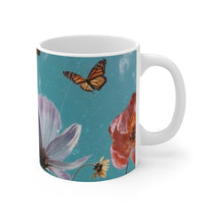 Flowers and flys, Mug 11oz