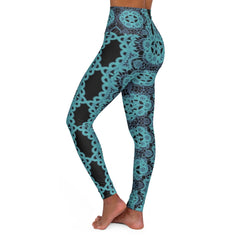 Teal Lace, High Waisted Yoga Leggings