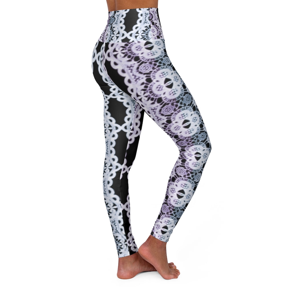 Pastel rainbow lace. High Waisted Yoga Leggings