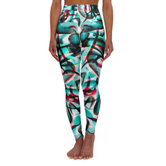 Tribal blue High Waisted Yoga Leggings