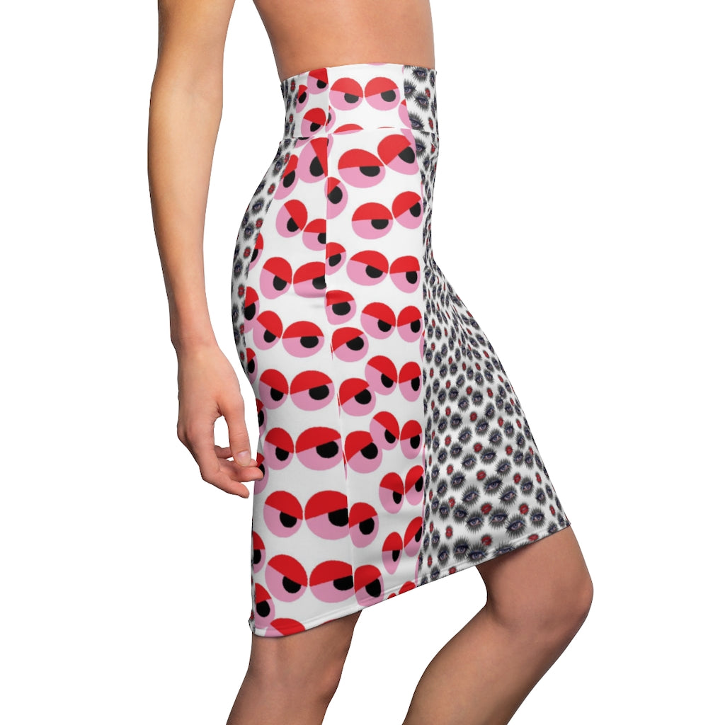 Fly Eyes, Women's Pencil Skirt