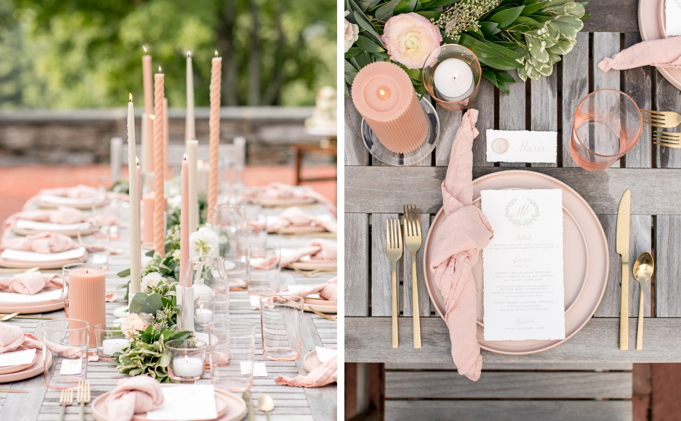 Blush and cream modern table setting from Events Delivered - The Monhegan Set