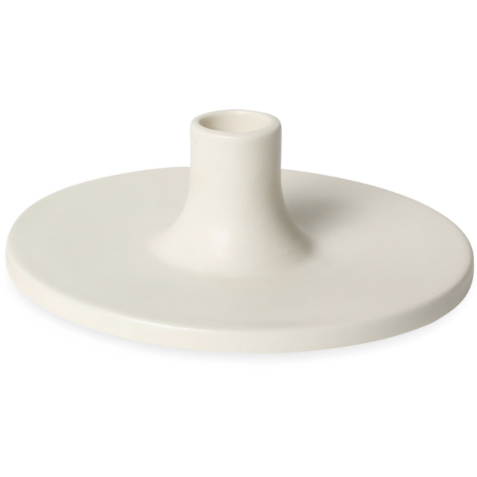White Wide Ceramic Taper Holder