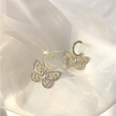 Cubic Zirconia Butterfly Dangle Earrings