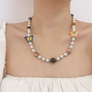 Colorful Gem Butterfly Pearl Necklaces