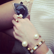 Vintage Gold Plated Pearl Bangle Bracelet Ring Set