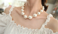 Vintage Pearl Beaded Statement Necklace