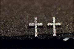 Cubic Zirconia Cross Studs Earrings