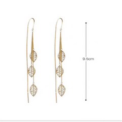 String Leaf Dangle Thread Earrings