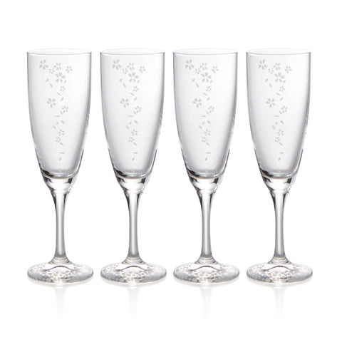 Sakura Sparkling Sake Glasses Set of 4