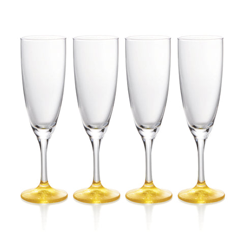 Gold Leaf Sparkling Sake Glasses Set of 4