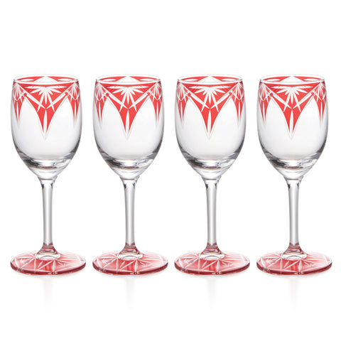 Red Kiriko Wine & Sake Glasses Set of 4