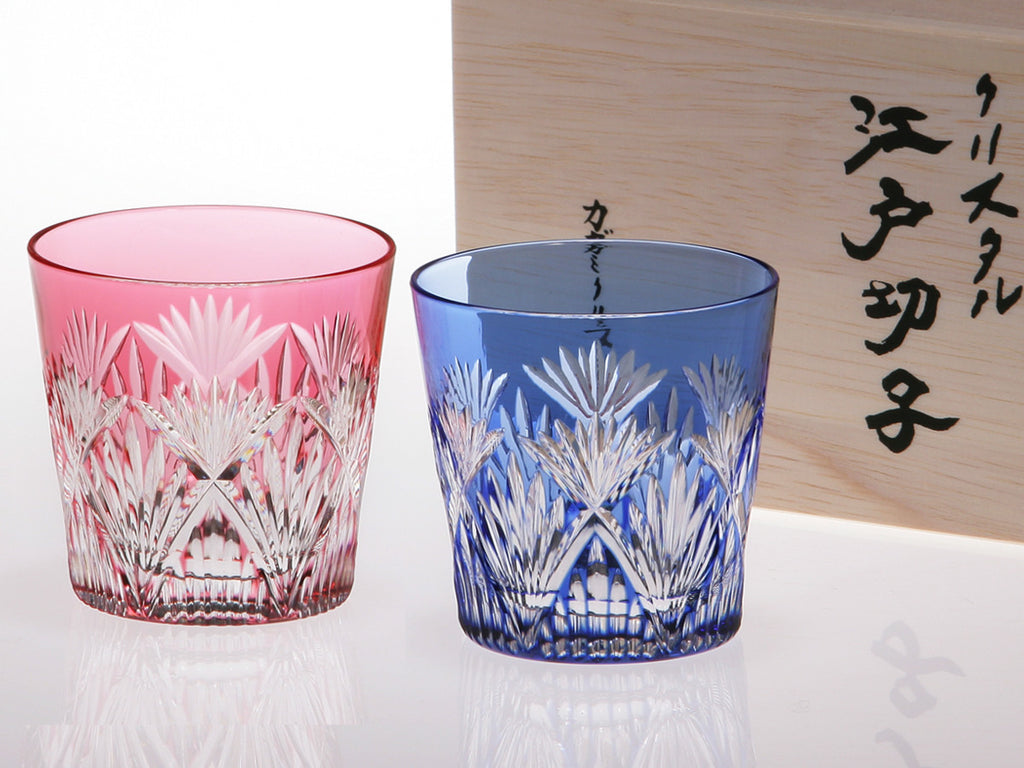 Edo Kiriko Crystal Sake Glass, Pair