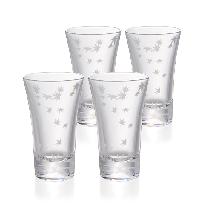 Momiji Cold Sake Trumpet Glasses Set of 4