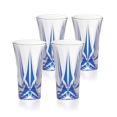 Blue Kiriko Cold Sake Trumpet Glasses Set of 4