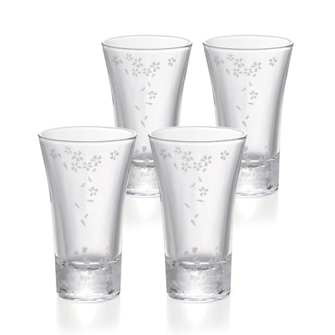 Sakura Cold Sake Trumpet Glasses Set of 4