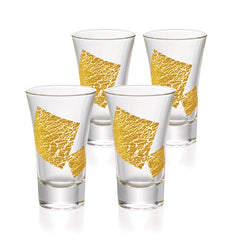 Gold Leaf Cold Sake Trumpet Glasses Set of 4