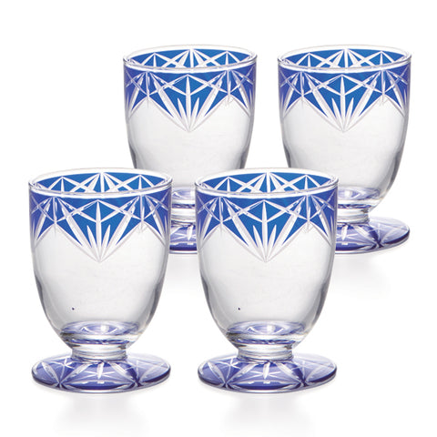Blue Kiriko Cold Sake Sakazuki B Glasses Set of 4