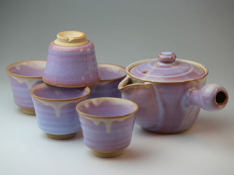Purple Morning Glory Hagi Ware Tea Set