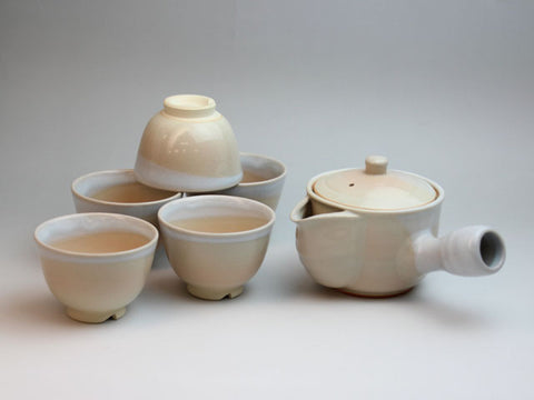 White Hagi Ware Tea Set