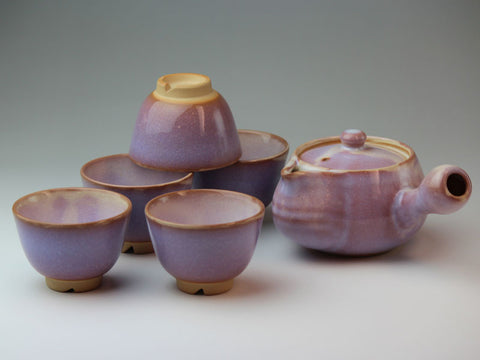 Purple Lily Hagi Ware Tea Set