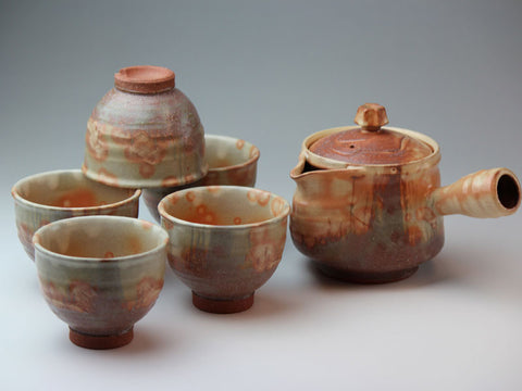 Autumn Leaves Hagi Ware Tea Set