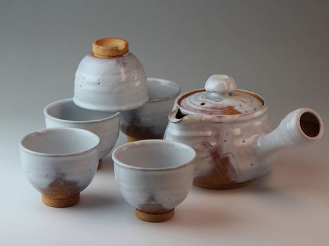 White Glaze Hagi Ware Tea Set