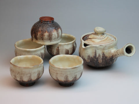 Kohiki Hagi Ware Tea Set by Keizo