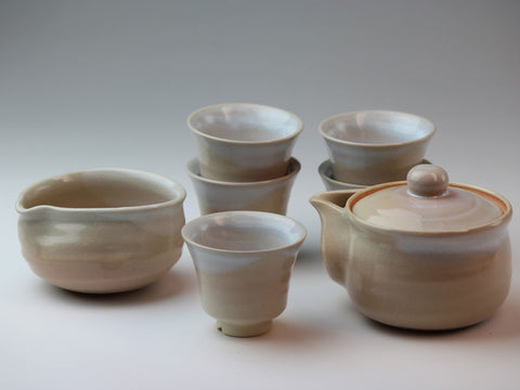 White Hagi Ware Sencha Tea Set