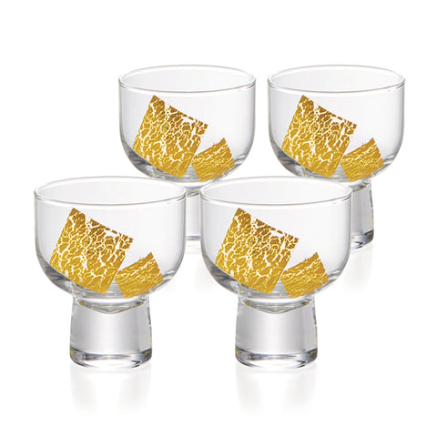 Gold Leaf Cold Sake Sakazuki Glasses Set of 4