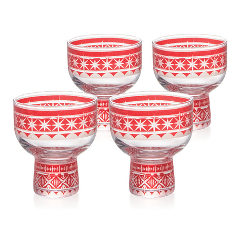 Red Kiriko Cold Sake Sakazuki Glasses Set of 4