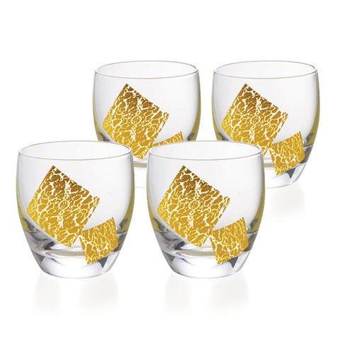 Gold Leaf Cold Sake Glasses Set of 4