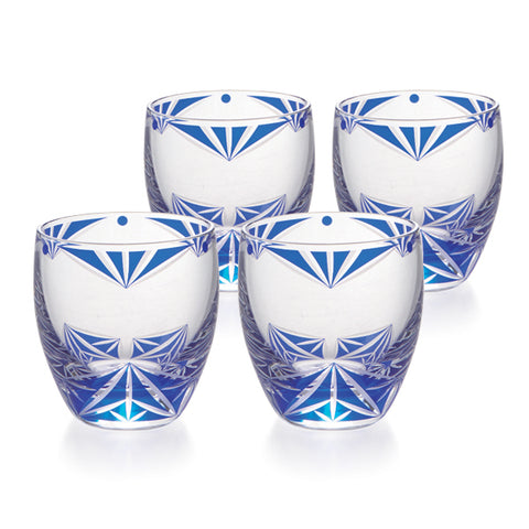 Blue Kiriko Cold Sake Glasses Set of 4