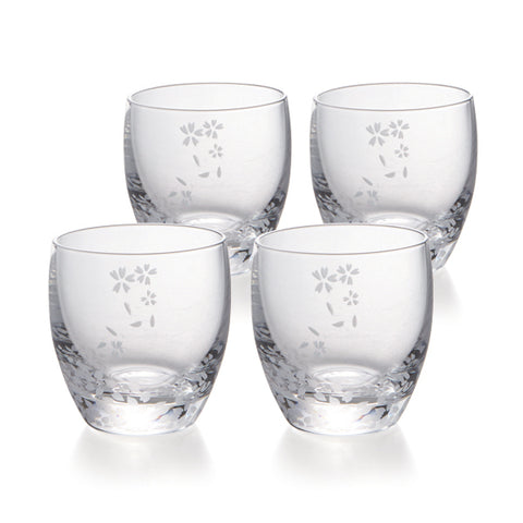 Sakura Cold Sake Glasses Set of 4