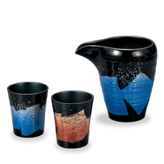 Black Blue and Red Ginsai Kutani Ware Cold Sake Set