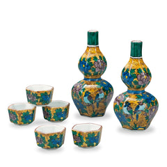 Yoshidaya Style Flower and Bird Kutani Ware Sake Set