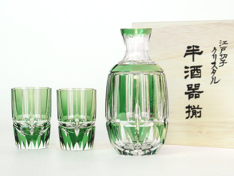 Edo Kiriko Crystal Glass Bamboo Sake Set