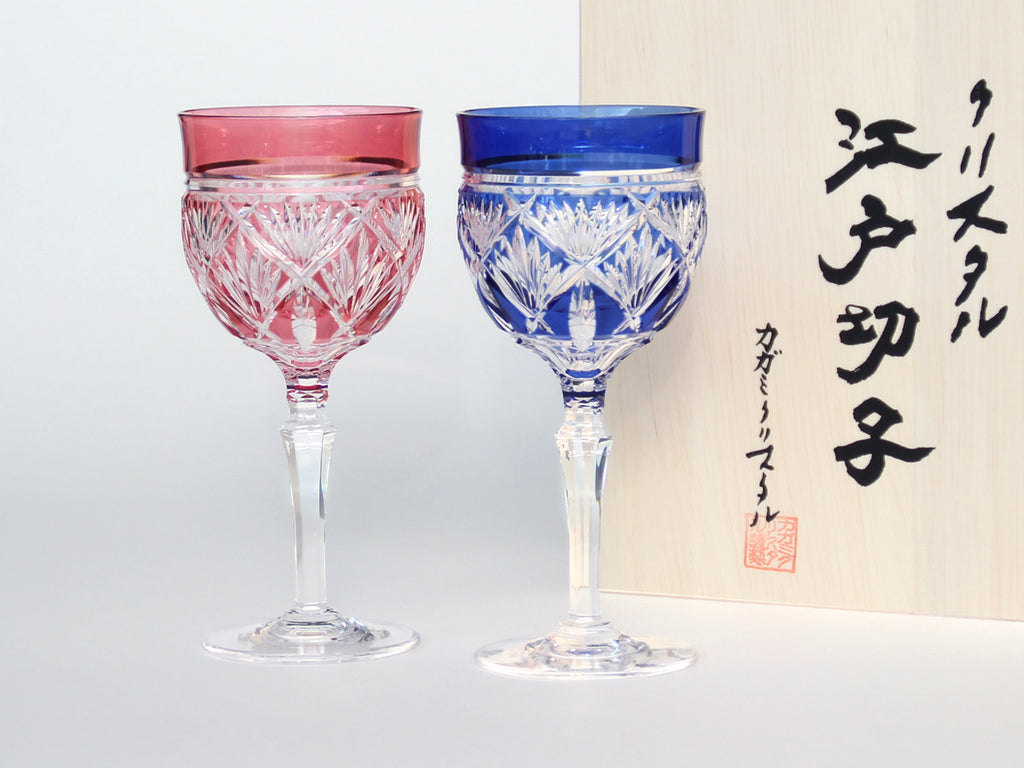 Edo Kiriko Crystal Wine Glass, Pair