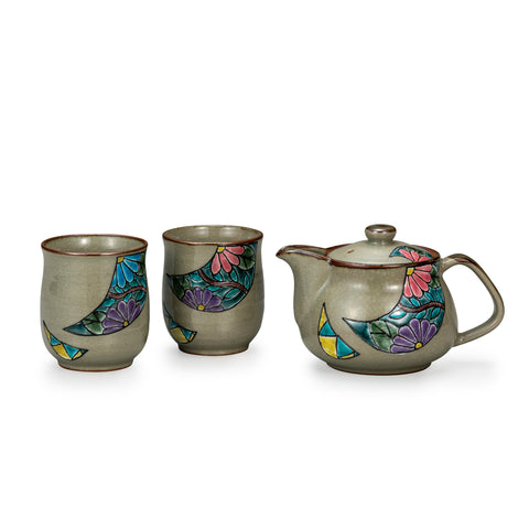 Flower Crest Kutani Ware Tea Set