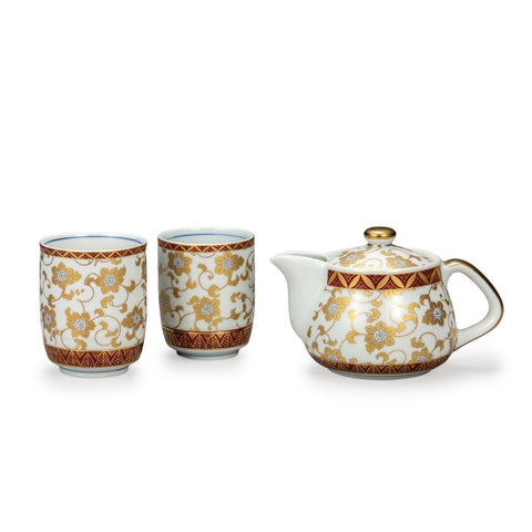 White Dots Kutani Ware Tea Set