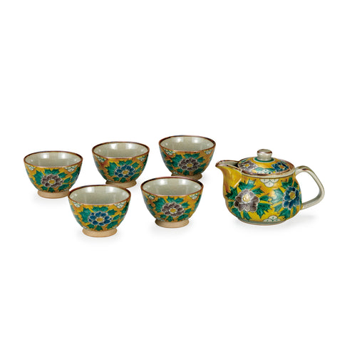 Yoshidaya Peony Kutani Ware Tea Set with Back Handle Pot