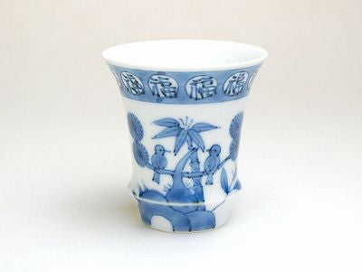 Flowers and Birds Sake Cup Trumpet Shape