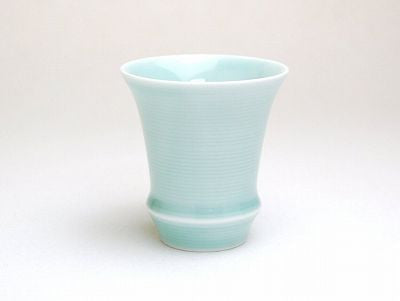 Light Blue Sake Cup Trumpet Shape