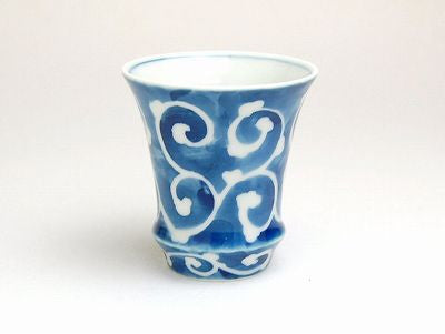 Blue Foliage Scroll Sake Cup Trumpet Shape