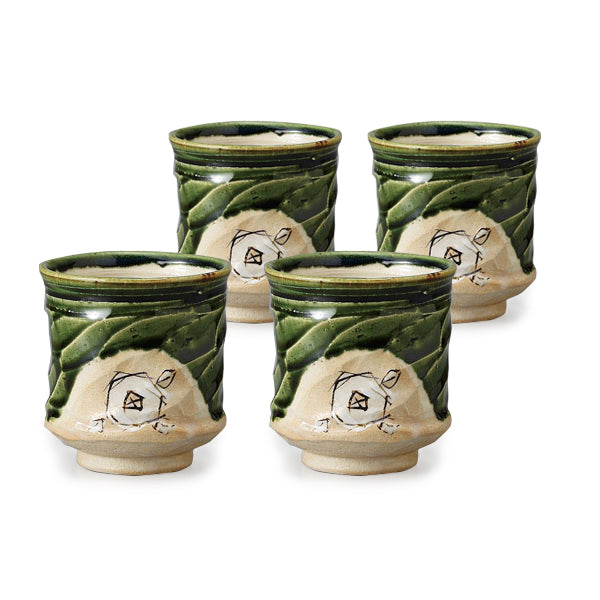 Oribe White Flower Pottery Tea Cup Set of 4
