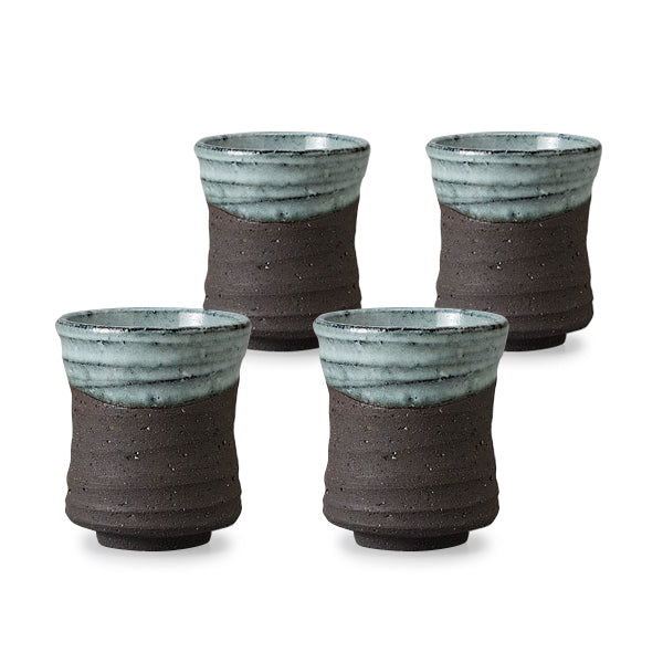 Black Mikage Pottery Tea Cup Set of 4