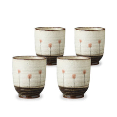 Wild Flower Pottery Tea Cup Set of 4